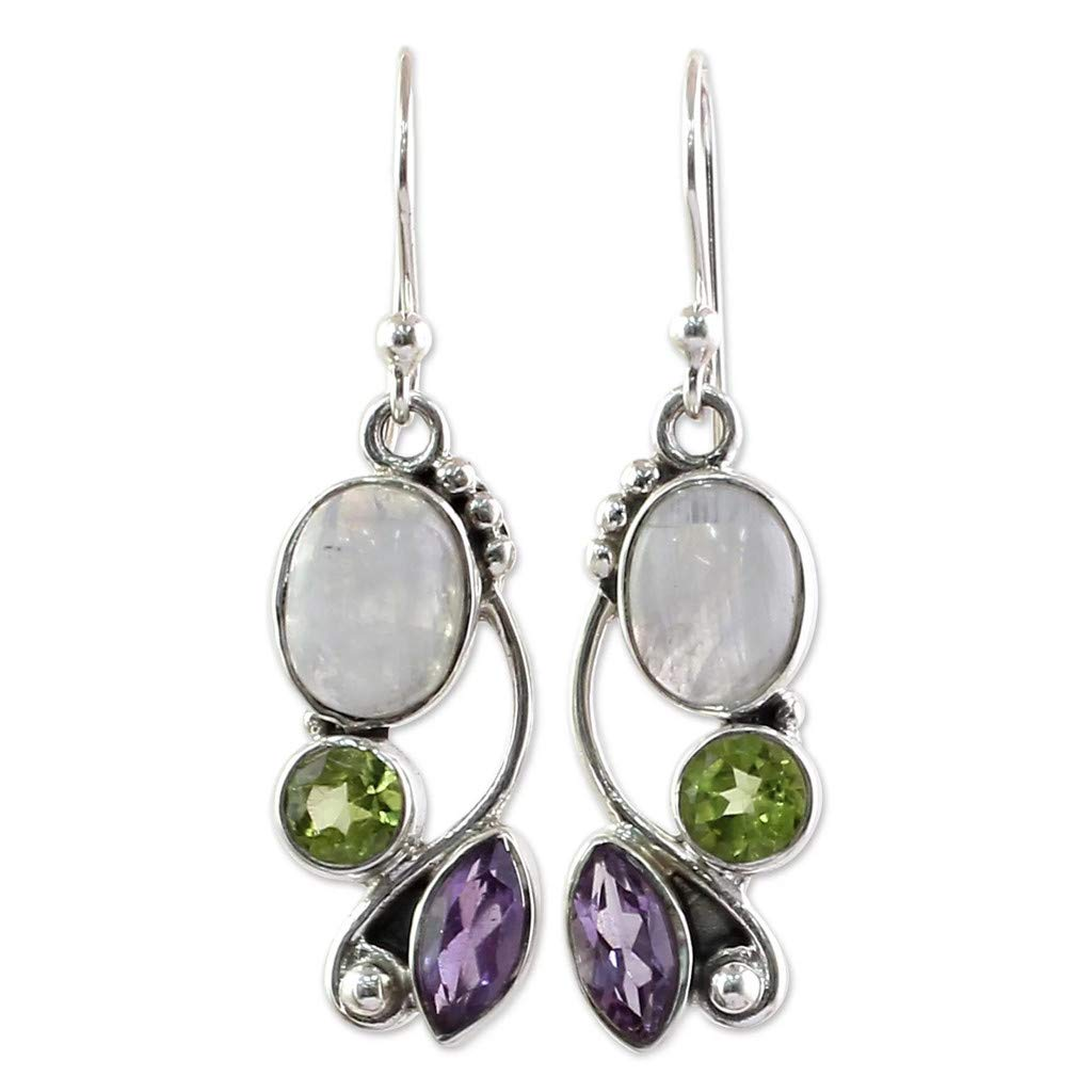 WaiiMak 1 Pair Multi Colored Zircon Earrings Ear Jewelry Natural Moonstone Earrings (Multicolor)