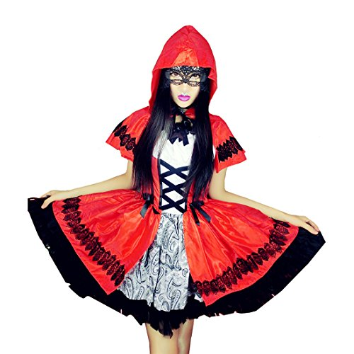 Halloween Little Red Riding Hood Costume Women Cosplay Dress Party (XXL) (Little Red Riding Hood Cosplay)