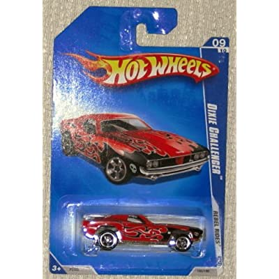 Hot Wheels 2009 Rebel Rides 09/10 Dixie Challenger Dark Red with Black Flames 145/190 1:64 Scale Collectible Die Cast Car: Toys & Games