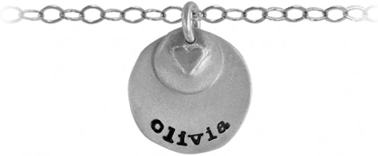 olivia Puffed Heart Name Necklace in Sterling Silver Includes 18 Chain TwoBirch olivia Name Necklace