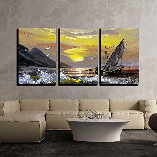 wall26 - 3 Piece Canvas Wall Art - Sailing Boat in Waves on a Decline - Modern Home Decor Stretched and Framed Ready to Hang - 16