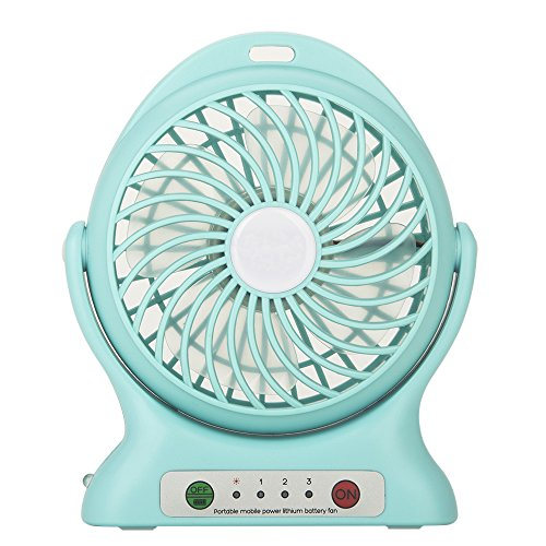 Rechargeable Mini Electric USB Fan Portable with LED Light (Blue) - 1