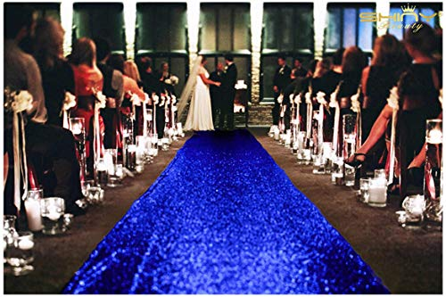 ShinyBeauty 3FTx15FT-Wedding Aisle Runner-Royal Blue,Glitter Sequin Aisle Runner for Wedding Ceremony Party/Children Party Decoration -