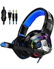 Gaming Headset for PS4, PC, Xbox One, Smiler+ Stereo Surround Over-Ear Headphones with Noise Cancelling Mic, RGB LED Light, Soft Comfort Earmuffs for Laptop, Mac, Nintendo