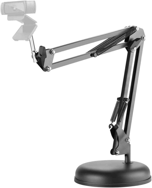 LinkIdea 360 Degree Adjustable Desktop Suspension Boom Scissor Camera Arm Stand Holder with Base for Logitech Webcam C920, C615, C922 C930, C930e, C922x, Brio 4K, C925e (Black) (Black - Stand)