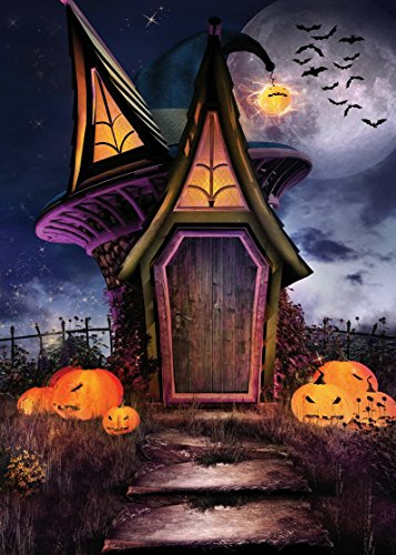 LYWYGG 5x7ft Happy Halloween Backdrop Horror Night Fairy Tale House Pumpkin Face Bat Party Photography Background for Pictures Baby Kids CP-58 ()