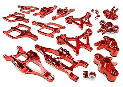Integy Hobby RC Model C25958RED Billet Machined Suspension Set for Traxxas 1/10 T-Maxx/E-Maxx 3903/5/8, 4907/8