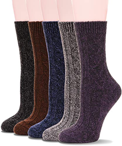 Womens Wool Socks Warm Knit Comfort Cotton Work Duty Boot Winter Socks For Cold Weather 5 Pack (Multicolor-V) (Cotton Wool Socks)