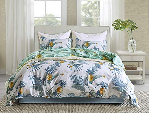 (Tosnail 3 Pieces Reversible Duvet Cover Set (1 Duvet Cover + 2 Pillow Shams) - Double Sides Pineapple Tree Pattern Printed (King/104