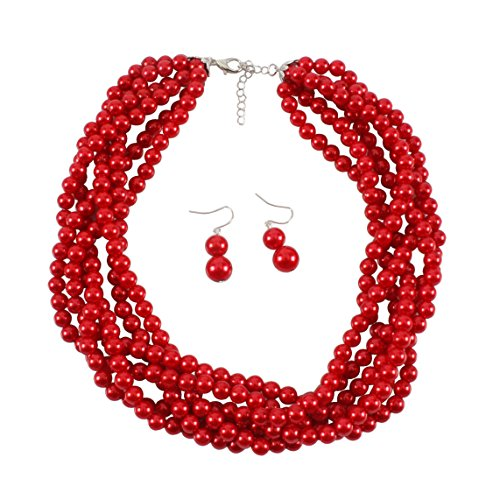 KOSMOS-LI Simulate Red Pearls Costume Jewelry Statement Earrings and Necklace Set ()