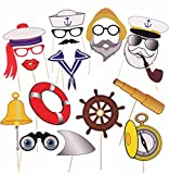 20 Pieces Navy Anchor Sailor Photo Booth Props Nautical Theme Photo booth Boy Kids Birthday Party Decoration Supplies
