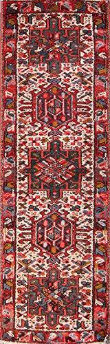 Gharajeh Persian Rugs - Gharajeh Heriz Wool Handmade Vintage Persian Runner Rug 2x5 For Entryways (5' 4'' x 1' 8'')