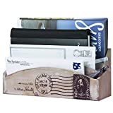 MyGift Whitewashed Wood Mail Sorter, 3 Compartment Letter Holder Rack