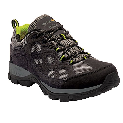Regatta Mens Toba Low Waterproof Breathable Leather Walking Shoes Briar / Lime Green