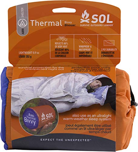 - S.O.L Survive Outdoors Longer 80 Percent Heat Reflective Durable Lightweight Emergency Bivvy, Silver