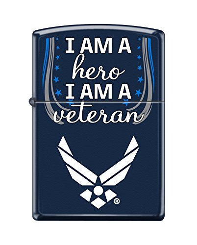 Zippo US Air Force Hero Veteran Pocket Lighter, Navy Matte