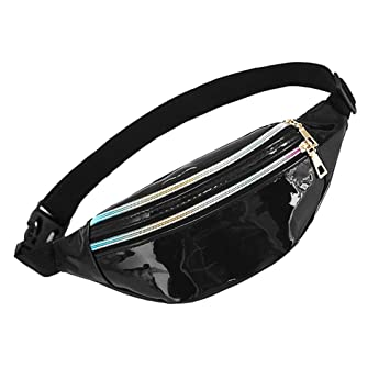 Holographic Blue Festival Bumbag Cute Ladies Travel Zip Waist Bag Holiday 1980s