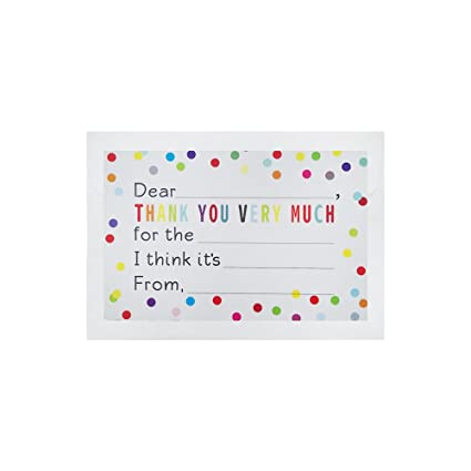 amazon com 36 pcs fill in the blank thank you notes confetti polka