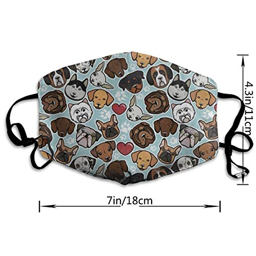 Dust Mask Funny Dachshund Pug Dog Paw Print Face Mask Fashion Anti-dust Reusable Cotton Comfy Breathable Safety Mouth Cover Masks for Women Man Running Cycling Outdoor