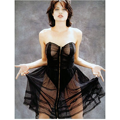 Angelina Jolie Short Hair Wearing Sheer Black Dress Holding Sides of Skirt Up with Fingers Looking Forward Lips Parted 8 X 10 Inch (60s Sheer)