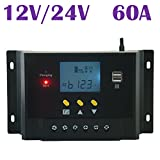 (US) BlueFire Regulator LCD Solar Charge Controller 60A 12V/24V Autoswitch Solar Panel 1500W For Battery Charging