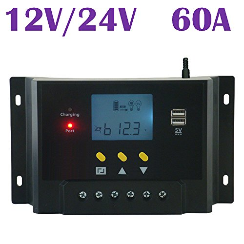 BlueFire Regulator LCD Solar Charge Controller 60A 12V/24V Autoswitch Solar Panel 1500W for Battery Charging