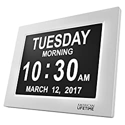 [Newest Version] Day Clock - Extra Large Impaired Vision Digital Clock with Battery Backup & 5 Alarm Options