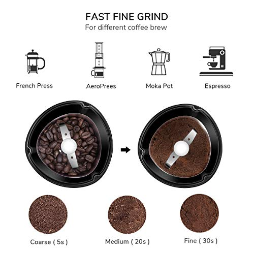 Coffee Mill Grinder 60G, Keemo Coffee Bean Grinder Electric 12 Cup, Fast Fine Home Blade Coffee Grinder Brushed Stainless Steel 150W for Coffee Beans Spices Nuts and Grains by Keemo (Image #1)