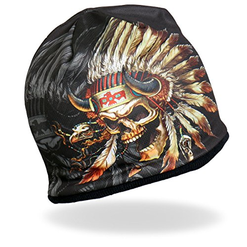 HD Sublimation Beanie Native American Indian Chief Skull Feathers Headdress Beanie Skull - Mens Indian Hot