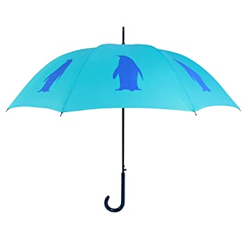 Paraguas, dos tonos de azul, con diseño de pingüinos,