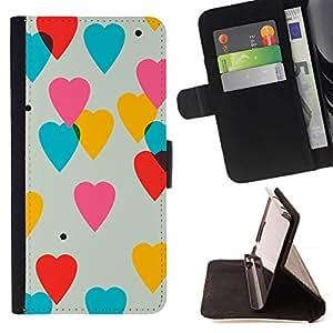 GIFT CHOICE / Billetera de cuero Estuche protector Cáscara Funda Caja de la carpeta Cubierta Caso / Wallet Case for Apple Iphone 6 // Cool Love Hearts Wallpaper //