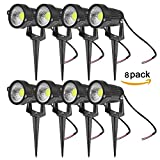 ONEVER LED Landscape Spotlight Outdoor, 5W 550 Lumen Waterproof COB LED Lawn Lamp Lights with Spike for Home Garden Decor, AC 220V, Cool White (Pack of 8X)