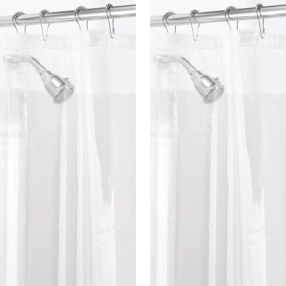 Clear Shower Curtain Liner Heavy Duty Clear Stones Premium PEVA 8G
