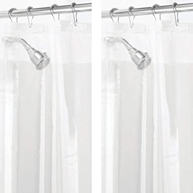 mDesign Waterproof, Mold/Mildew Resistant, Heavy Duty PEVA Curtain Liner for Bathroom Showers and Bathtubs, Clear