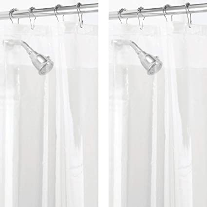 mDesign - 2 Pack - Long Waterproof, Mold/Mildew Resistant, Heavy Duty PEVA  Shower Curtain Liner for Bathroom Shower and Tub - No Odor, Chlorine Free -