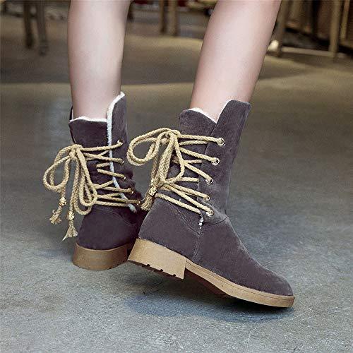 Bottes Hiver Rond Chaudes Noeud Femme Hiver À Avec Pour Bout chaussures Gris De Kaiki bottes Femmes Loisirs 4dxP84
