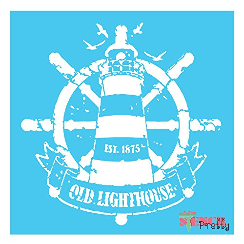 Light House stencil template - YOU PICK SIZE- furniture Shabby Beach craft (Small - 12'' x 12'') by Stencil Me Pretty