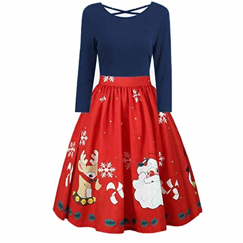 Women's Vintage Patchwork Flare Dress A-line Floral Party Dress Long Sleeve Plus Size Christmas Print Criss Cross HunYUN