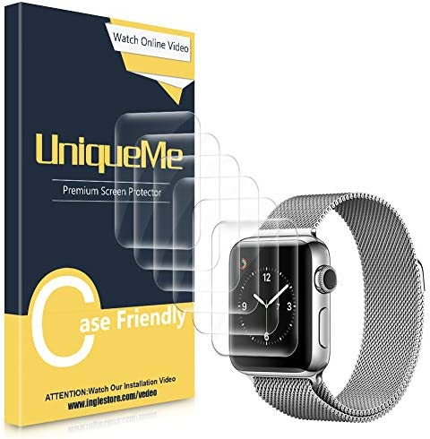 [6 Pack] UniqueMe Screen Protector Compatible for Apple Watch 38mm Series 1/2/3, [Bubble-Free Installation] [Flexible Film] Soft HD TPU Clear Anti-Scratch Film with Lifetime Replacement Warranty