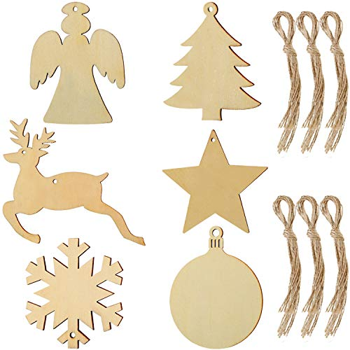 Tatuo 60 Pieces Christmas Wood Tags Ornaments Wooden Cutout Hanging Wood Crafts Embellishments with 60 Pieces Twines for Christmas Hanging (Color 1)