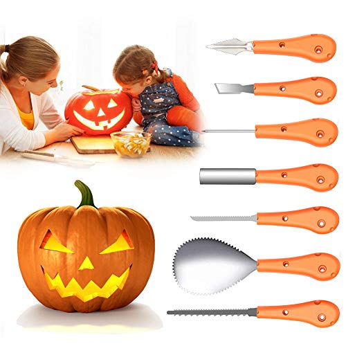 Pumpkin Carving Kit, Joso Professional Pumpkin Carving Knife Tools Sets for Kids Adults Halloween Party Decorations with Storage Carrying Bag, Stainless Steel (7Pcs)