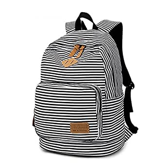 Artone Stripe School Bag Daypack Casual Backpack With Laptop Compartment White Black