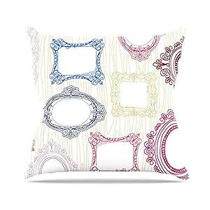 """KESS inhouse hj1079aop0318Heidi, 45,7x 45,7Jennings I 've sido diseño blanco """"Cojín Manta de exterior, multicolor"""