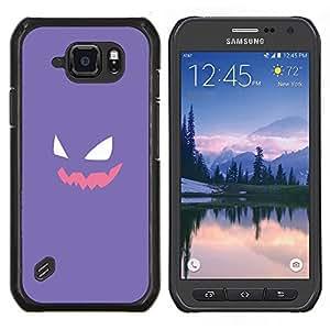 Qstar Arte & diseño plástico duro Fundas Cover Cubre Hard Case Cover para Samsung Galaxy S6Active Active G890A (Cara púrpura P0kemon)