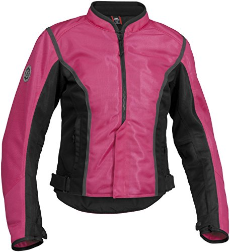 Firstgear Contour Mesh Women's Textile Motorcycle Jacket (Pink/Black, - Jacket Motorcycle Contour Black