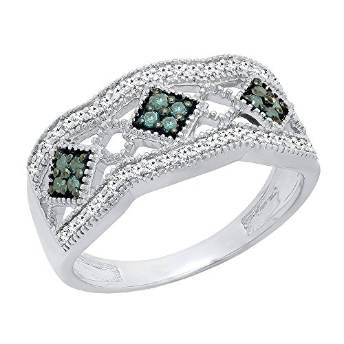 Dazzlingrock Collection 0.35 Carat (ctw) Sterling Silver Round Blue & White Diamond Vintage Wedding Band 1/3 CT, Size 7