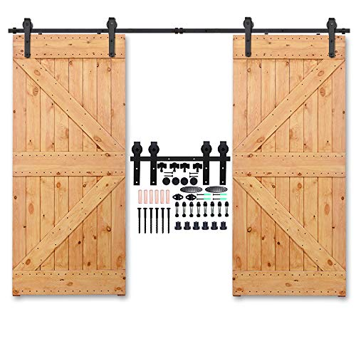CCJH American Country Flat Style Steel Sliding Barn Door Hardware Interior for Double Door Black (17FT)