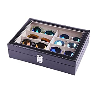 Eyewear Eyeglasses Sunglasses Organizer Storage Display Case | 8 Compartments | Combination of Leather, Velvet, Safe Acrylic Lid | Best Quality | Best Display | Best Protection | Black | MUYMED Gifts