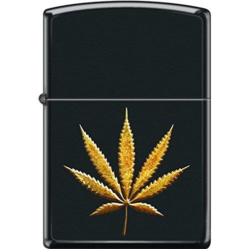 (Zippo Lighter - Pot Leaf Gold Black matte)