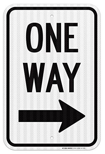 One Way With Arrow Right Traffic Sign - 12